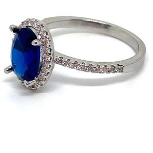 Jewelry - Sapphire Sterling Silver and CZ Diamond Halo Ring